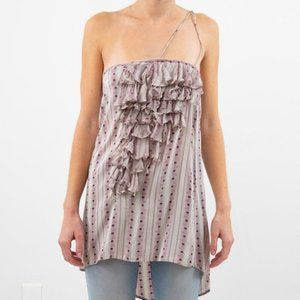 Anthro Geren Ford S Silk Striped Party Top Purple